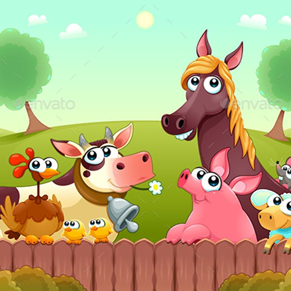 Farm Animals Smiling Near the Fence