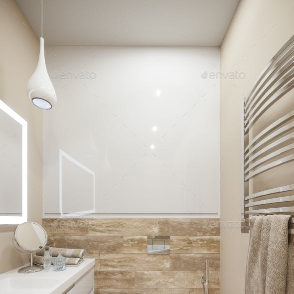 3d Illustration of the Interior of the Bathroom