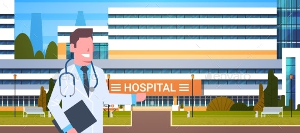Male Doctor Standing Over Hospital Building - Health/Medicine Conceptual