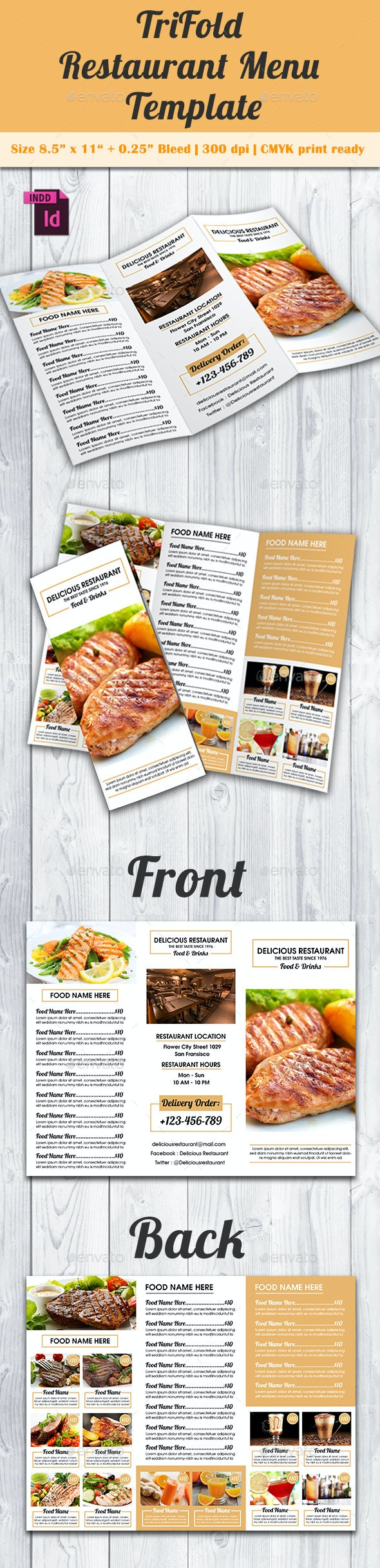 TriFold Restaurant Menu Template Vol. 9