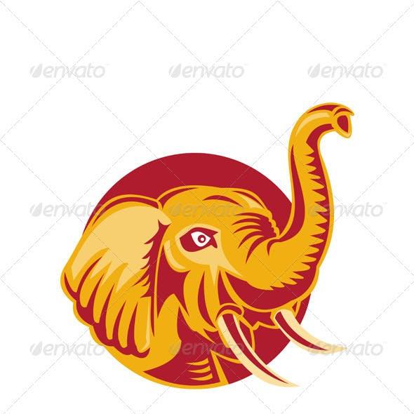 Angry African Elephant Head Retro