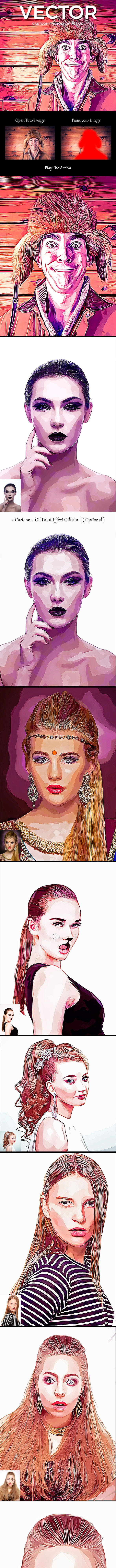 Vector Cartoon Photoshop Action - Photo Effects Actions