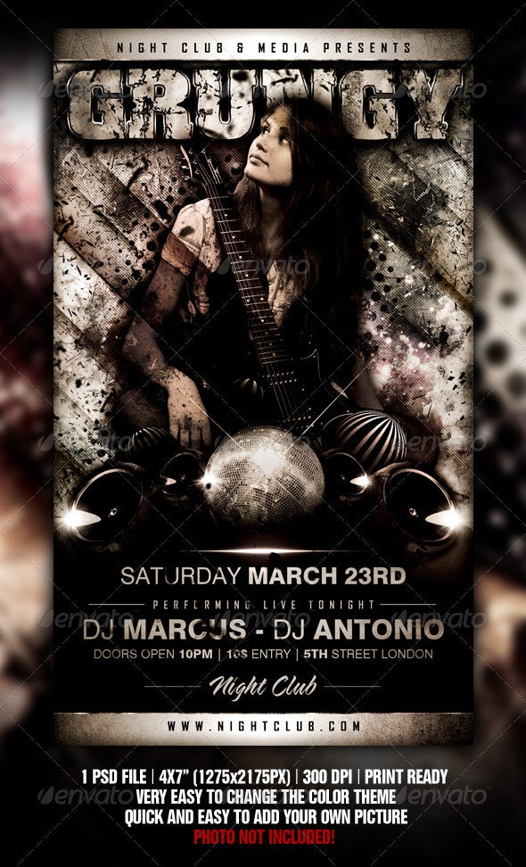 Grungy Flyer Template - Clubs & Parties Events