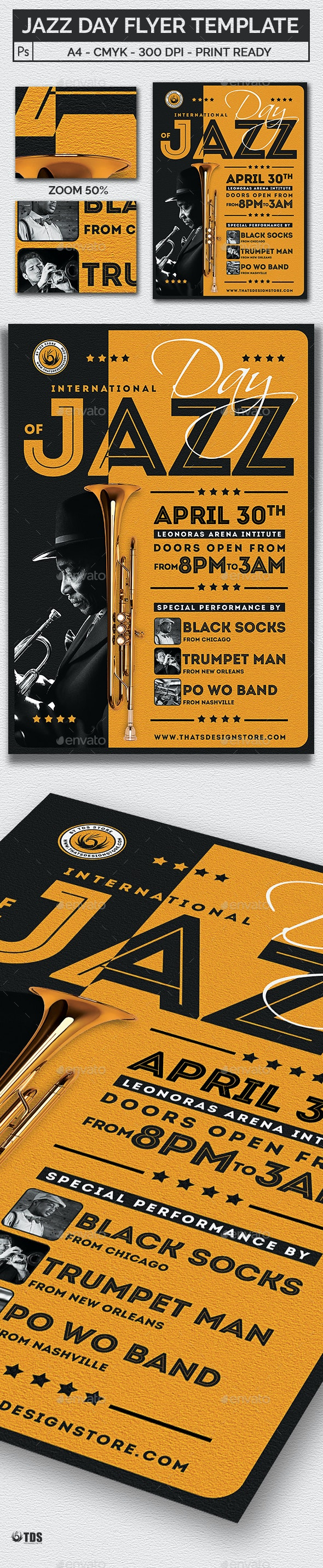 Jazz Day Flyer Template - Concerts Events