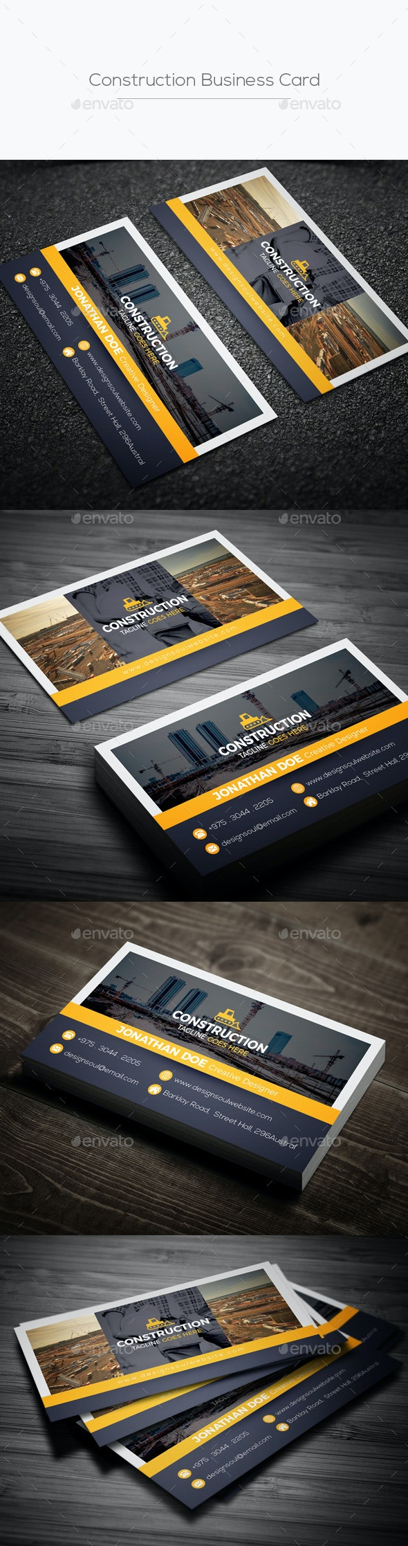 Construction Business Card - Business Cards Print Templates