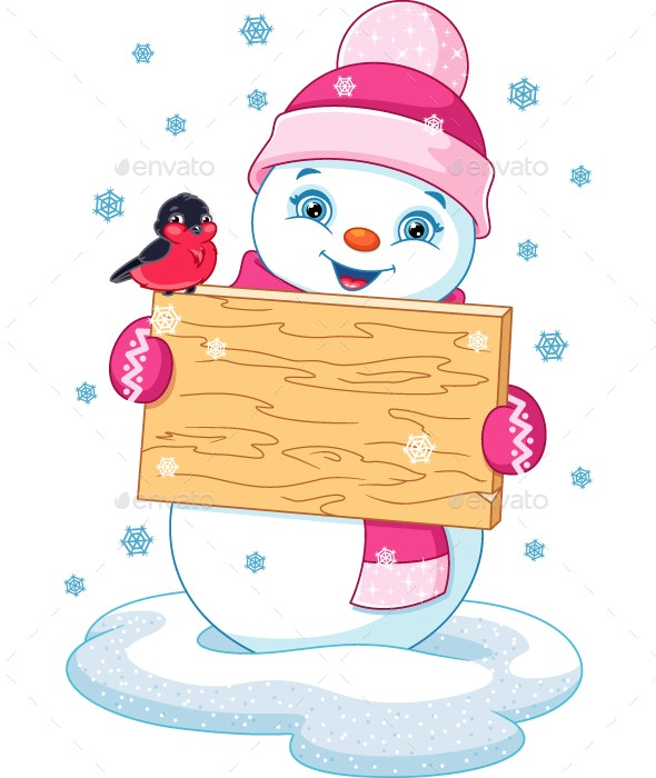 Snowman and Bullfinch - Christmas Seasons/Holidays