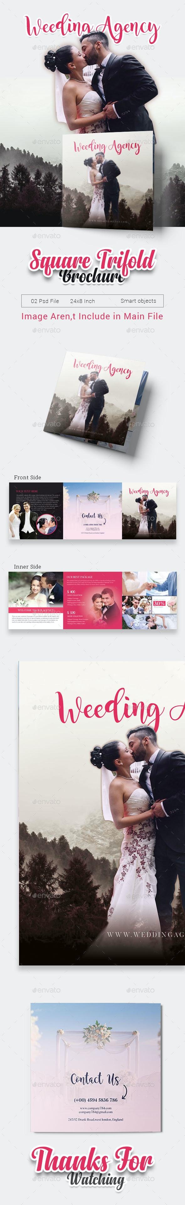 Wedding Square Tri-fold  Brochure - Brochures Print Templates