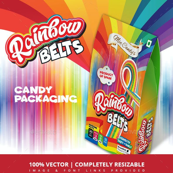 Mixed Fruit Sour Candy Belts Packaging