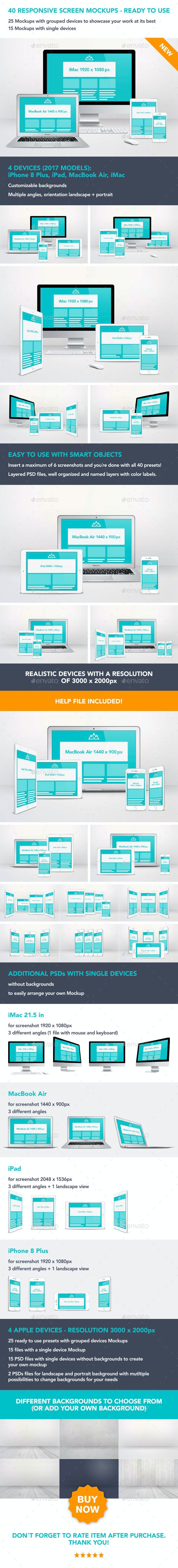 40 Responsive Screen Mockups - Ready to use - Multiple Displays