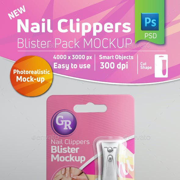 Nail Clippers Blister Pack Mockup With Clippers Inside