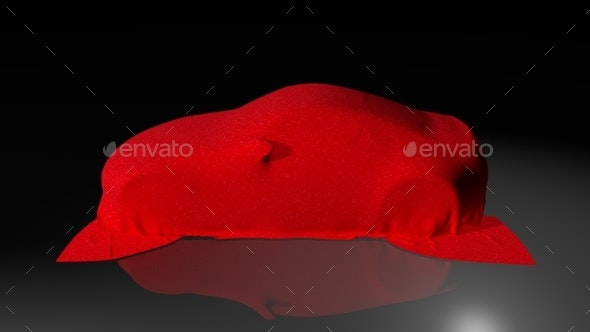 Car Covered with a Cloth. 3D Render - Objects 3D Renders