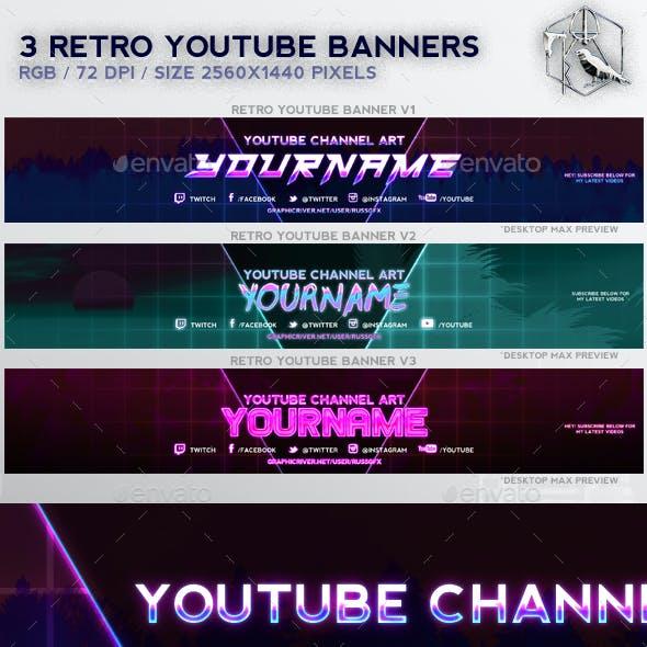 3 Retro Youtube Banners