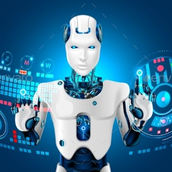 Robot Humanoid Works with a Virtual HUD Interface