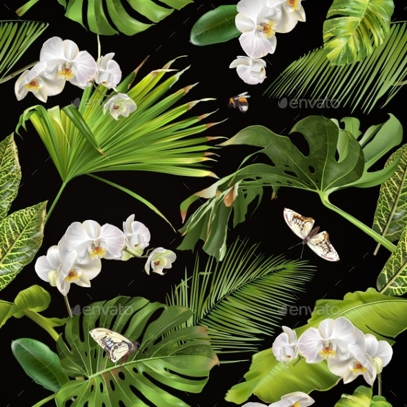 Tropical Orchid Pattern - Flowers & Plants Nature