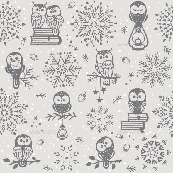 Owl Seamless Winter