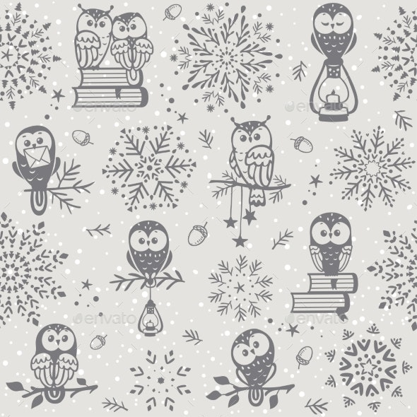 Owl Seamless Winter - Animals Characters