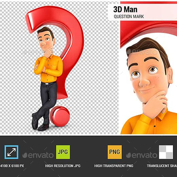 3D Man Leaning Back Against Question Mark