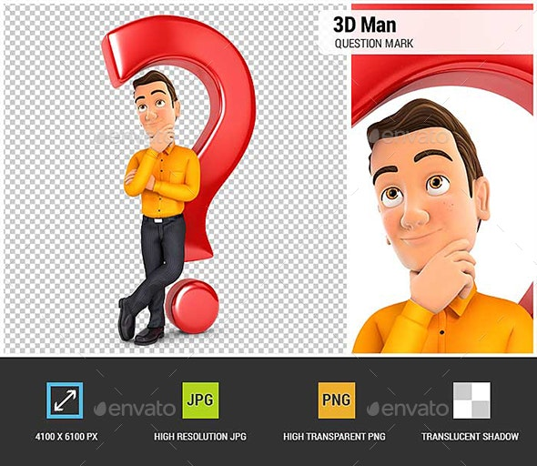 3D Man Leaning Back Against Question Mark - Characters 3D Renders