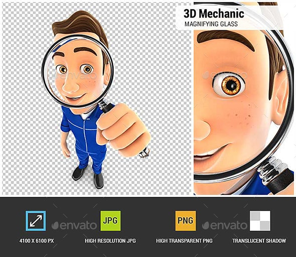 3D Mechanic Looking into a Magnifying Glass - Characters 3D Renders
