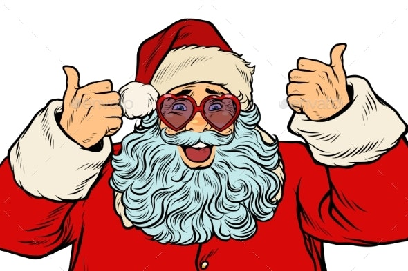 Santa Claus in Fancy Glasses Isolated on White - Seasons/Holidays Conceptual