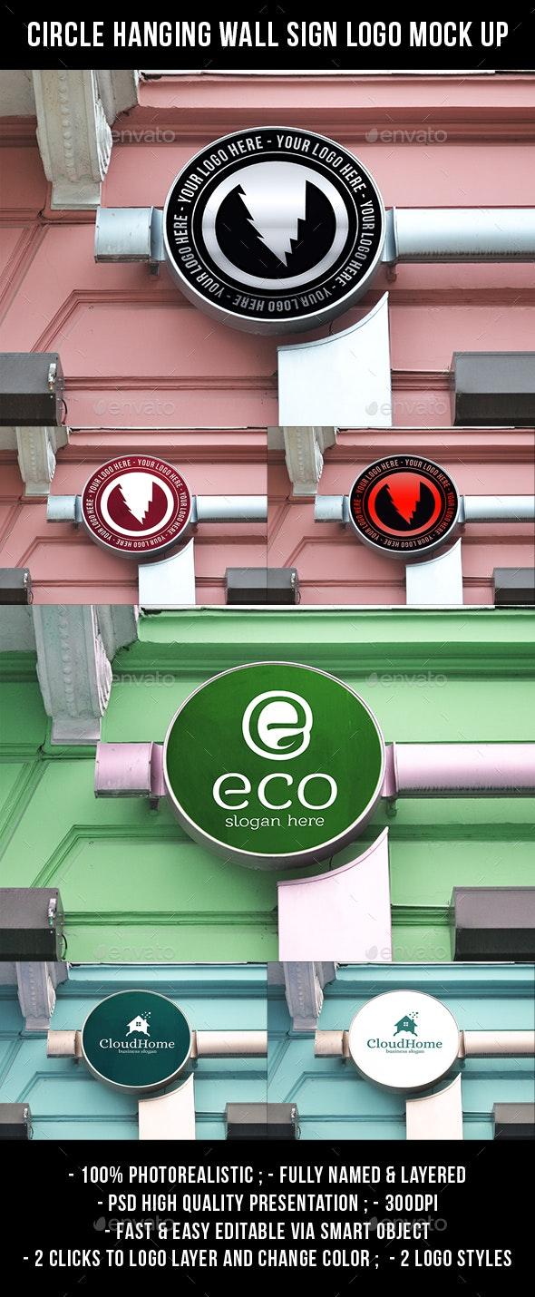 Circle Hanging Wall Sign Logo Mock Up - Logo Product Mock-Ups