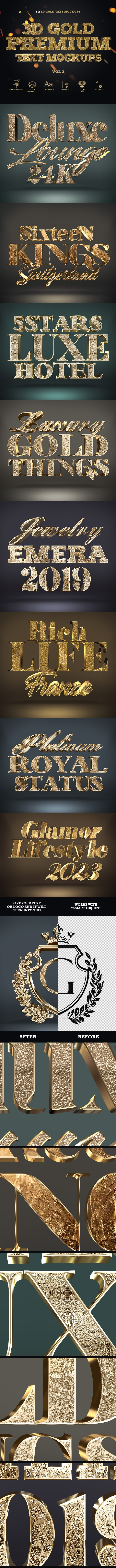 3D Gold Text Styles - Text Effects Actions