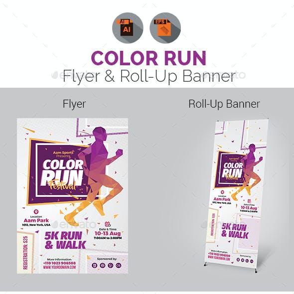 Color Run Festival Flyer & Roll-Up Banner