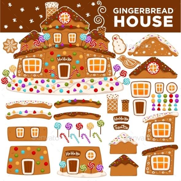 Christmas Gingerbread House Constructor Cartoon