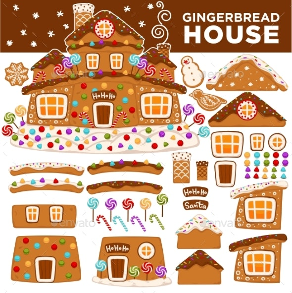 Christmas Gingerbread House Constructor Cartoon - Seasons/Holidays Conceptual