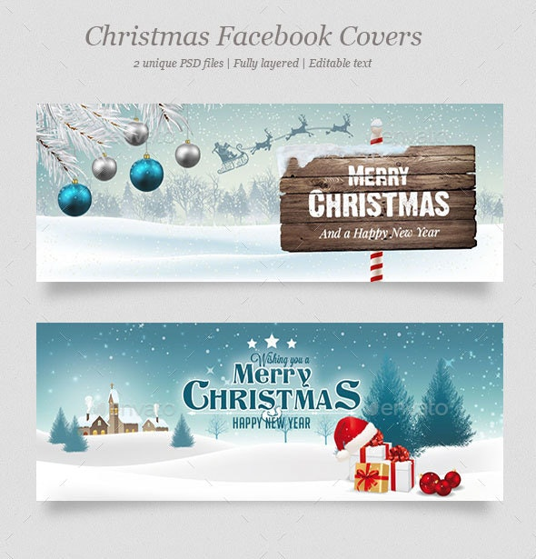 2 Christmas Facebook Covers Vol.3 - Facebook Timeline Covers Social Media