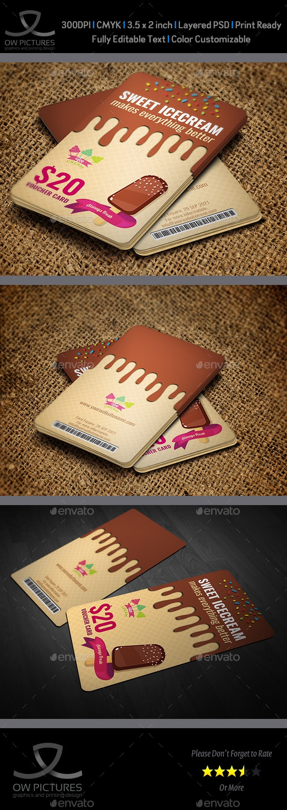 Ice Cream Voucher Gift Card Template - Cards & Invites Print Templates
