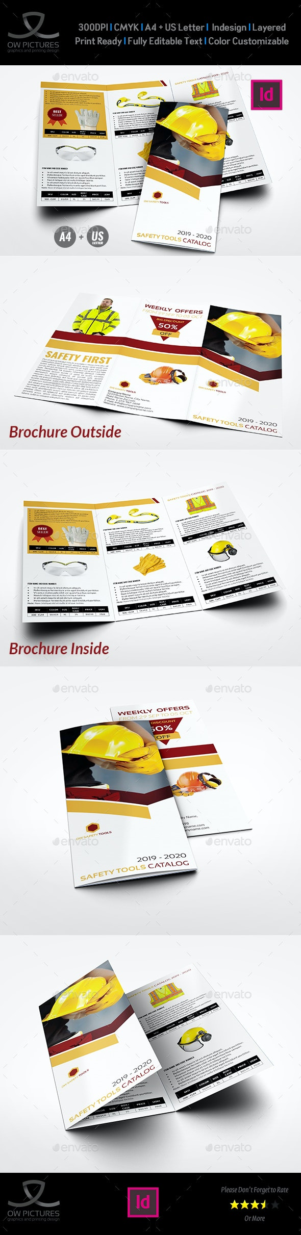 Safety Tools Catalog Tri-Fold Brochure Template - Catalogs Brochures