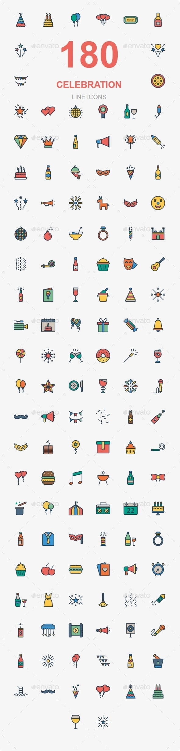 Party & Celebration Line Color - Web Icons