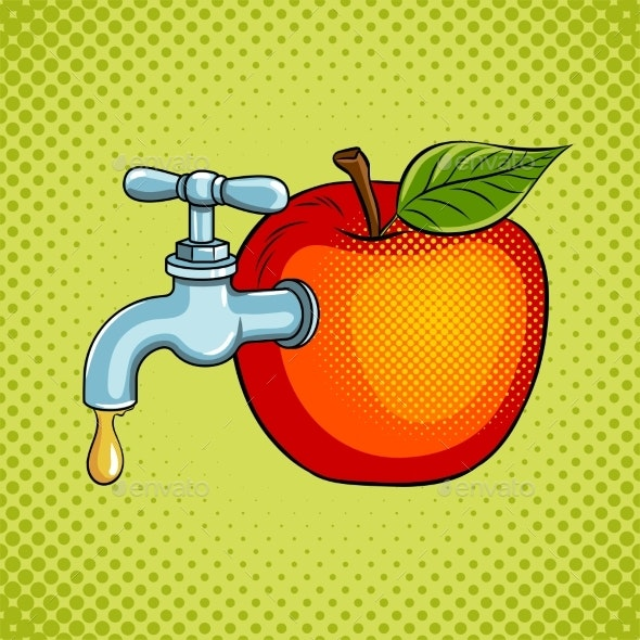 Apple Fruit with Tap Pop Art Vector Illustration - Food Objects