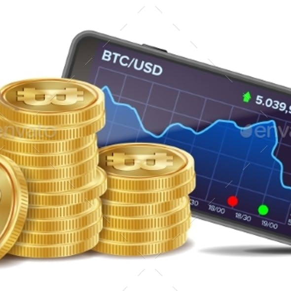 Smartphone with Bitcoin Trading Chart Vector