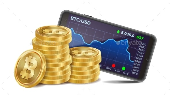 Smartphone with Bitcoin Trading Chart Vector - Concepts Business