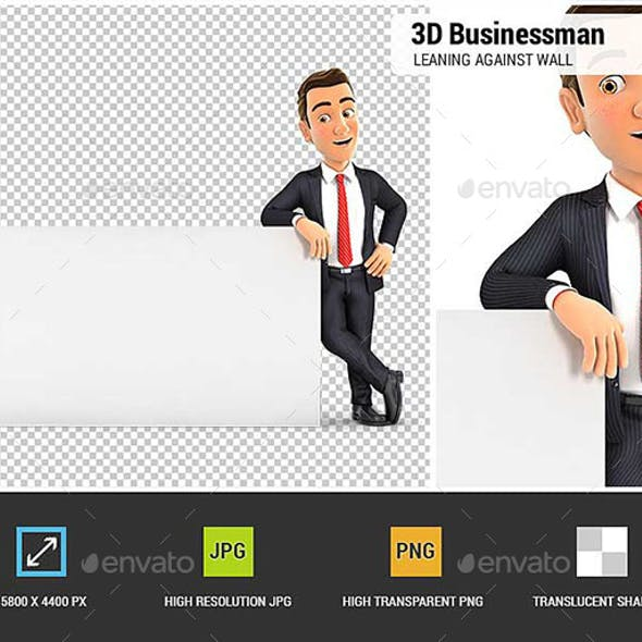 3D Businessman Leaning Against White Wall