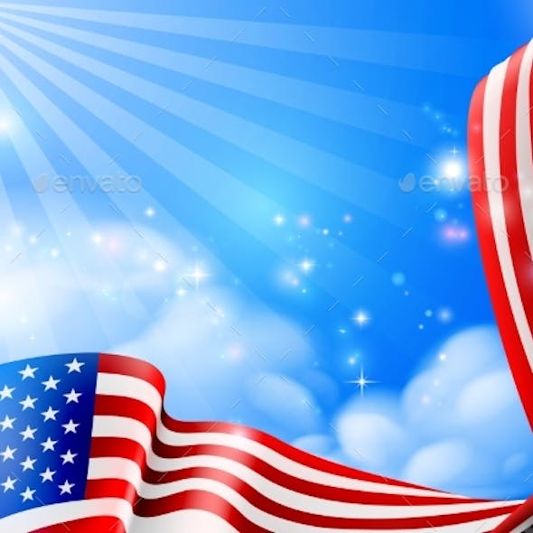 American Flag Sky Background Design