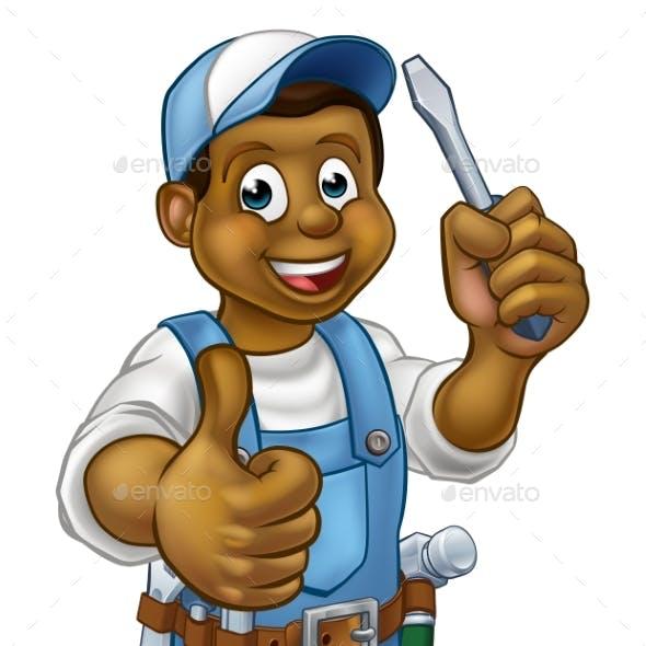 Cartoon Electrician Handyman Screwdriver