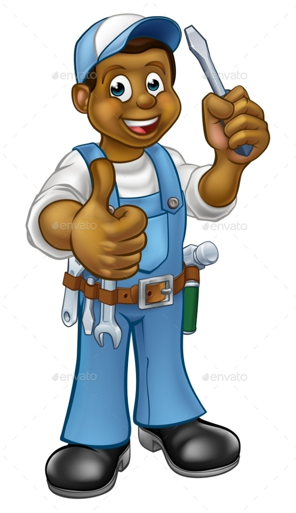 Cartoon Electrician Handyman Screwdriver - People Characters