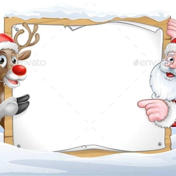 Christmas Santa and Reindeer Sign Background
