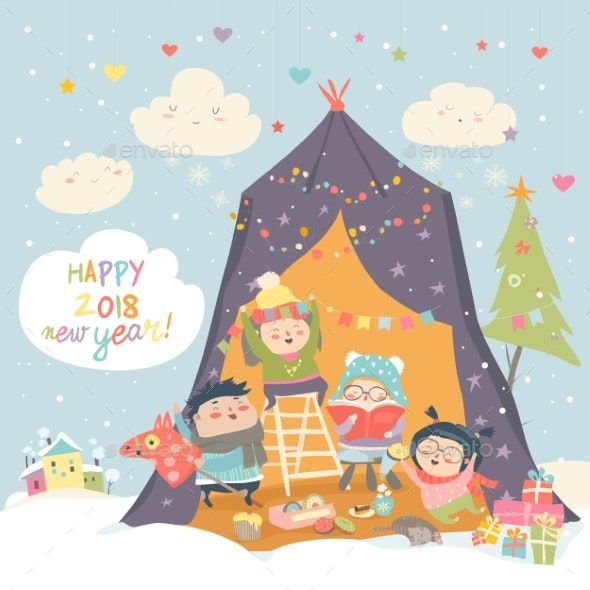 Happy Children Celebrating Christmas - People Characters