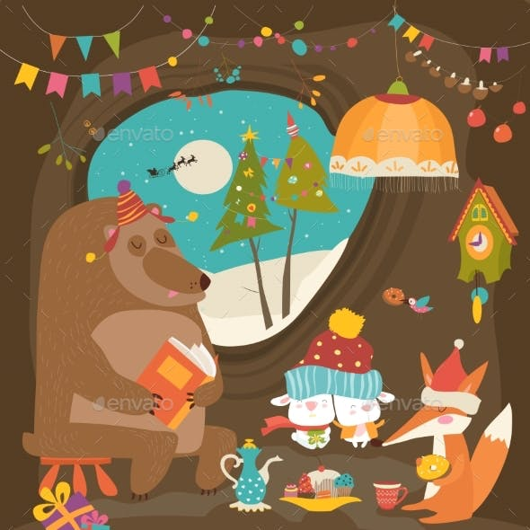 Animals Celebrating Christmas in Den