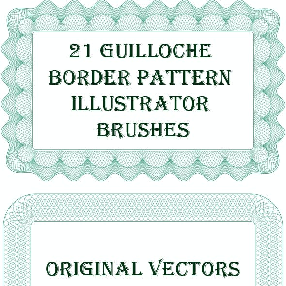 21 Guilloche Border Pattern Adobe Illustrator Brushes