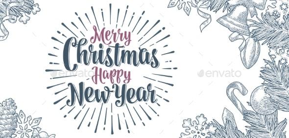 Poster Horizontal Merry Christmas Happy New Year - Christmas Seasons/Holidays