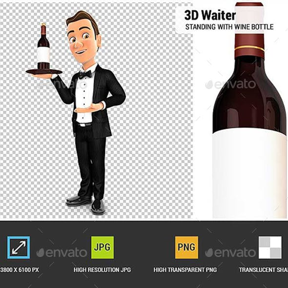 3D Waiter Standing with Red Wine Bottle