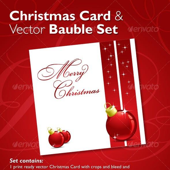 Christmas Card & Vector Bauble Set