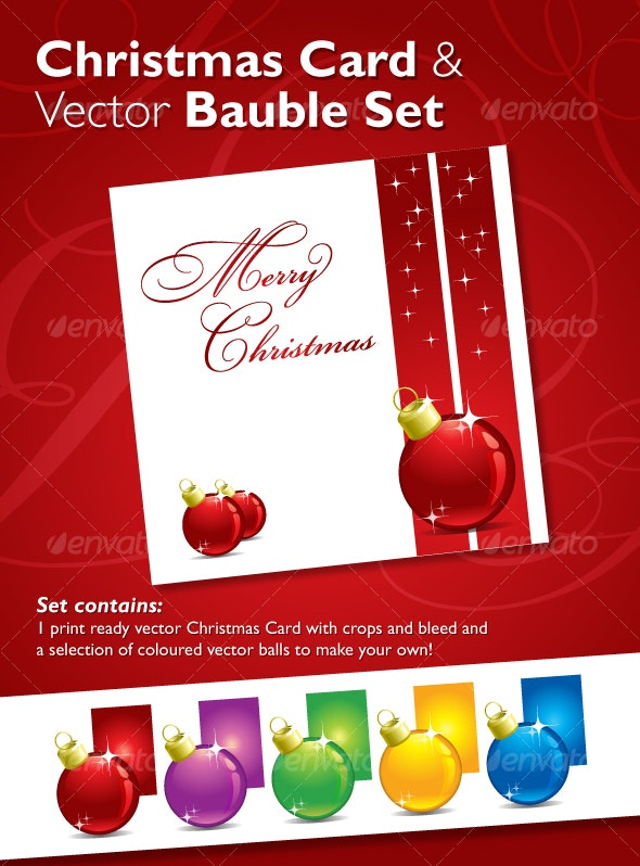 Christmas Card & Vector Bauble Set - Christmas Seasons/Holidays