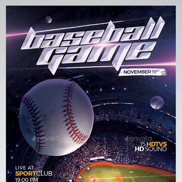 Baseball Game Match Flyer Template