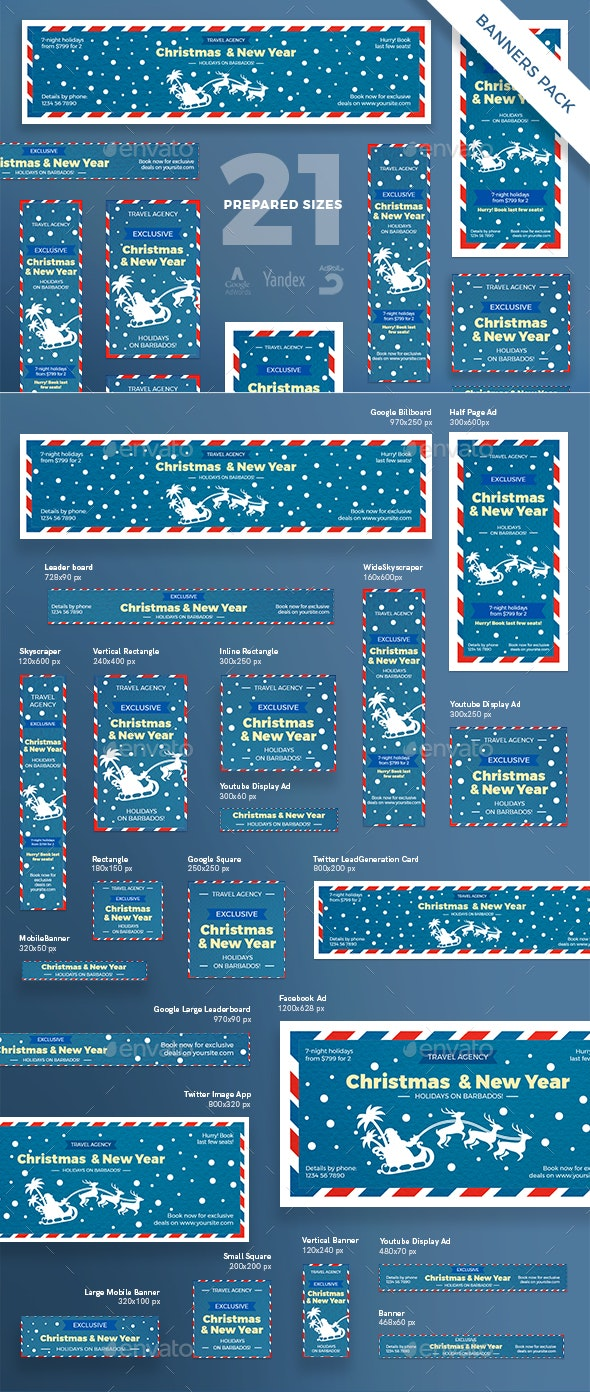 Christmas Travel Banner Pack - Banners & Ads Web Elements